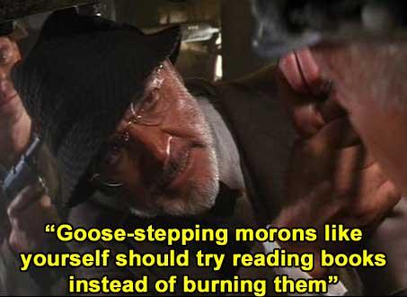 Henry Jones, Sr. on burning books