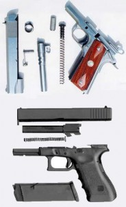 M1911-A1 strip up top, Glock strip below; one is less complicated than the other, but neither is as simple as a revolver.